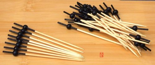 Cocktail stick skewer with black bead & top 10cm x 100 Japanese style - GOTO